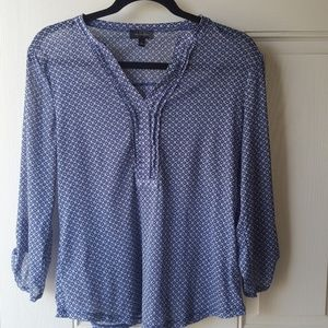 The Limited Blue Patterned Sheer 3/4 Sleeve Blouse